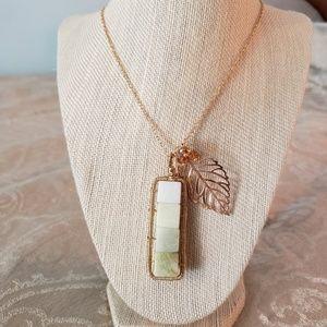 Artisan New Jade Pendant Leaf Necklace